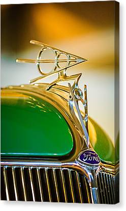 1936 Ford Deluxe Roadster Hood Ornament Canvas Print