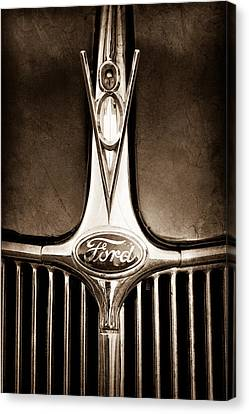 Ford V8 Canvas Print - 1936 Ford Phaeton V8 Hood Ornament - Emblem by Jill Reger