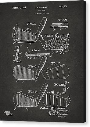 1936 Golf Club Patent Artwork - Gray Canvas Print