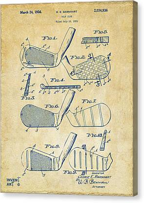 Aged Wood Canvas Print - 1936 Golf Club Patent Artwork Vintage by Nikki Marie Smith