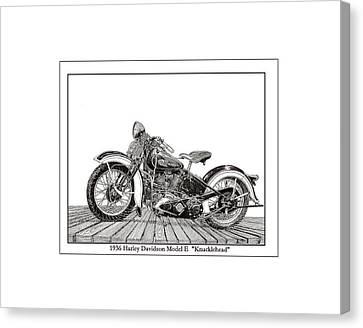 1936 Harley Knucklehead Canvas Print by Jack Pumphrey