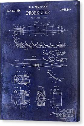 Vintage Airplane Canvas Print - 1936 Propeller Patent Drawing Blue by Jon Neidert