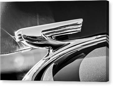 Old Car Door Canvas Print - 1937 Chevrolet 2 Door Sedan Hood Ornament -0834bw by Jill Reger