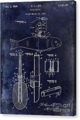 1937 Fishing Knife Patent Blue Canvas Print