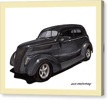 Cost Line Canvas Print - 1937 Ford 2 Door Street Rod by Jack Pumphrey