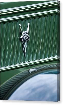 1937 Ford Pickup Truck V8 Emblem Canvas Print by Jill Reger