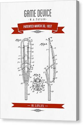 1937 Game Device Patent Drawing - Retro Red Canvas Print