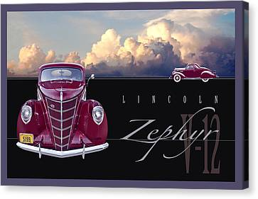 Canvas Print featuring the photograph 1937 Lincoln Zephyr by Ed Dooley