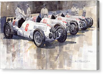 1937 Monaco Gp Team Mercedes Benz W125 Canvas Print by Yuriy  Shevchuk