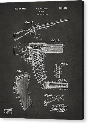 1937 Police Remington Model 8 Magazine Patent Artwork - Gray Canvas Print by Nikki Marie Smith