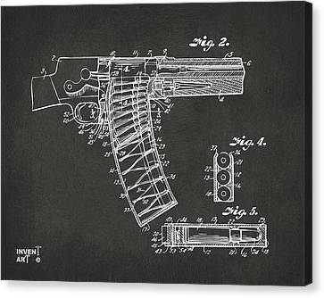 1937 Police Remington Model 8 Magazine Patent Minimal - Gray Canvas Print by Nikki Marie Smith