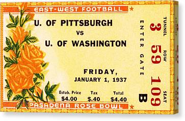1937 Rose Bowl Ticket Canvas Print by David Patterson