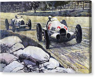 1937 Rudolf Caracciola Winning Swiss Gp W 125 Canvas Print by Yuriy Shevchuk