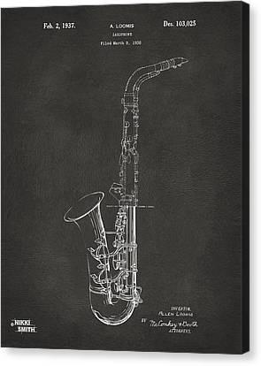 1937 Saxophone Patent Artwork - Gray Canvas Print by Nikki Marie Smith
