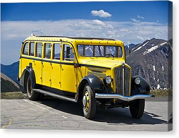 1937 White Touring Bus Canvas Print
