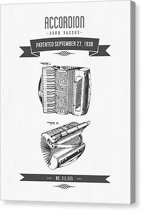 1938 Accordion Patent Drawing Canvas Print by Aged Pixel