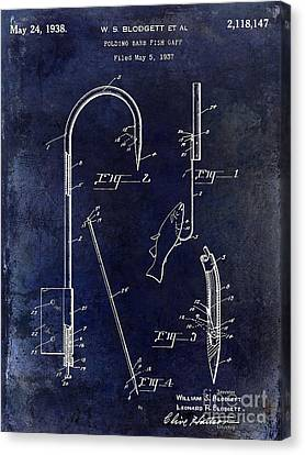 1938 Fishing Gaff Patent Drawing Blue Canvas Print