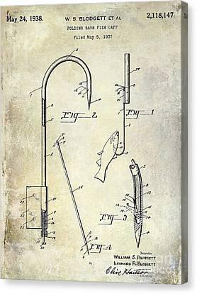 1938 Fishing Gaff Patent Drawing Canvas Print