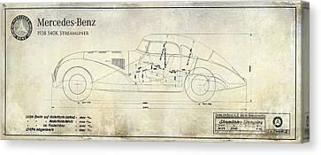1938 Mercedes-benz 540 K Streamliner Blueprint A Canvas Print by Jon Neidert