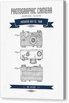 1938 Photographic Camera Patent Drawing - Retro Navy Blue Canvas Print