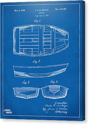 1938 Rowboat Patent Artwork - Blueprint Canvas Print by Nikki Marie Smith
