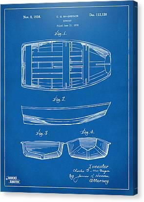 1938 Rowboat Patent Artwork - Blueprint Canvas Print by Nikki Marie Smith