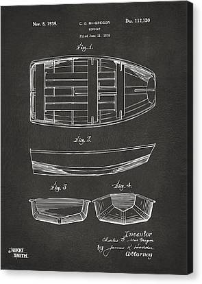 1938 Rowboat Patent Artwork - Gray Canvas Print by Nikki Marie Smith