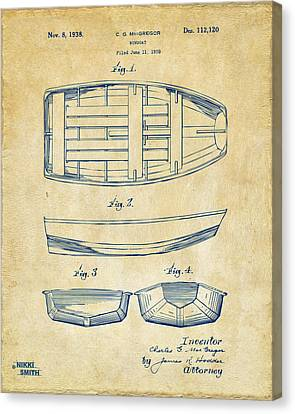 1938 Rowboat Patent Artwork - Vintage Canvas Print by Nikki Marie Smith