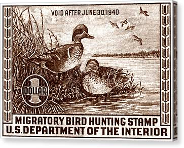 1939 American Bird Hunting Stamp Canvas Print