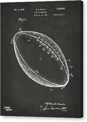 1939 Football Patent Artwork - Gray Canvas Print