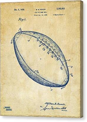 1939 Football Patent Artwork - Vintage Canvas Print by Nikki Marie Smith