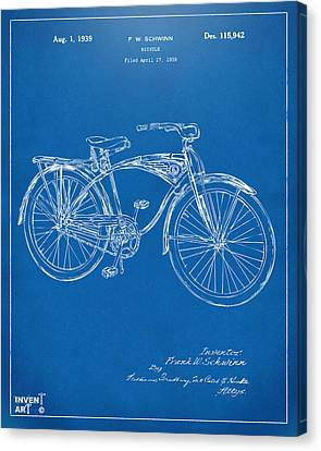 Bicycle Race Canvas Print - 1939 Schwinn Bicycle Patent Artwork Blueprint by Nikki Marie Smith