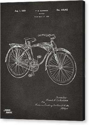 Bicycle Race Canvas Print - 1939 Schwinn Bicycle Patent Artwork - Gray by Nikki Marie Smith