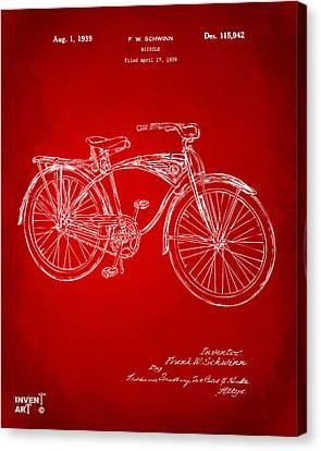 Bicycle Race Canvas Print - 1939 Schwinn Bicycle Patent Artwork Red by Nikki Marie Smith