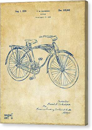 Bicycle Race Canvas Print - 1939 Schwinn Bicycle Patent Artwork Vintage by Nikki Marie Smith