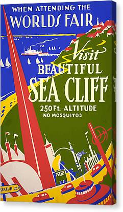 Canvas Print featuring the painting 1939 Sea Cliff - Worlds Fair Celebration by American Classic Art