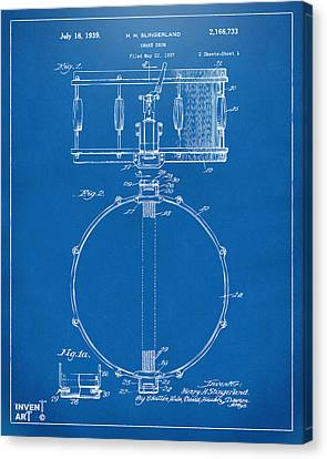 Drummer Canvas Print - 1939 Snare Drum Patent Blueprint by Nikki Marie Smith