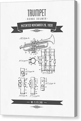 1939 Trumpet Patent Drawing Canvas Print by Aged Pixel