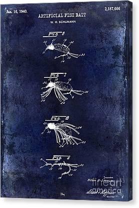 1940 Artificial Fish Bait Patent Drawing Blue Canvas Print by Jon Neidert