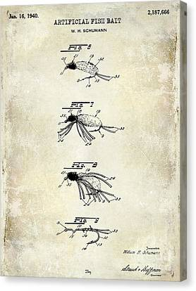 1940 Artificial Fish Bait Patent Drawing Canvas Print by Jon Neidert