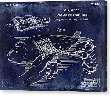 1940 Boning Fish Patent Drawing Blue Canvas Print by Jon Neidert