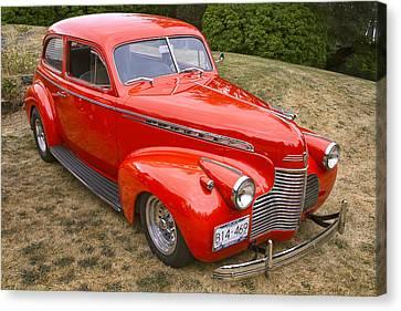 Red Chev Canvas Print - 1940 Chevrolet 2 Door Sedan by Peggy Collins