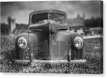 Rusted Cars Canvas Print - 1940 Desoto Deluxe Black And White by Scott Norris