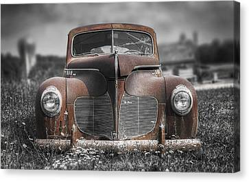 Rusted Cars Canvas Print - 1940 Desoto Deluxe With Spot Color by Scott Norris