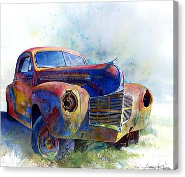 Rusted Cars Canvas Print - 1940 Dodge by Andrew King