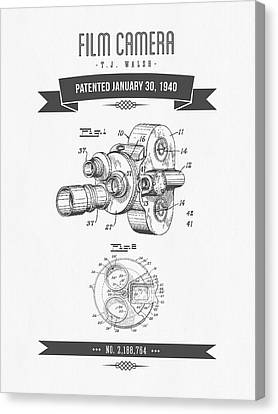 1940 Film Camera Patent Drawing - Retro Gray Canvas Print by Aged Pixel