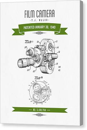 1940 Film Camera Patent Drawing - Retro Green Canvas Print by Aged Pixel