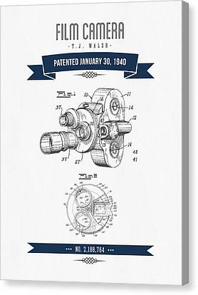 1940 Film Camera Patent Drawing - Retro Navy Blue Canvas Print by Aged Pixel