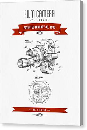 1940 Film Camera Patent Drawing - Retro Red Canvas Print by Aged Pixel