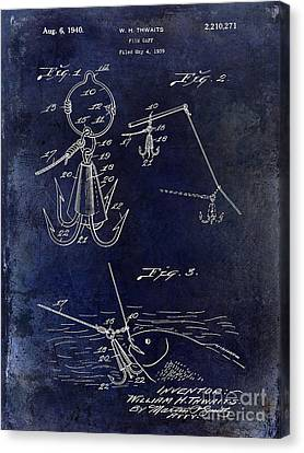 1940 Fishing Gaff Patent Drawing Blue Canvas Print